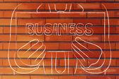 Человек, держащий знак о поиске бизнес — Стоковое фото