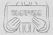 Mannen med business skylt — Stockfoto
