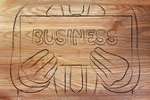 Man holding business sign — Stock Photo