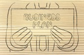 Man Schild Business Plan — Stockfoto