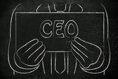 Biznes człowiek trzyma znak Ceo — Zdjęcie stockowe