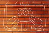 Business man holding CEO sign — Fotografia Stock