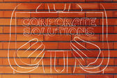 Man holding Corporate Solutions sign — Stock Photo