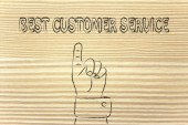 Hand pointing at the writing Best Customer Service — Stockfoto