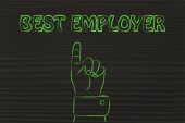 Hand pointing at the writing Best Employer — Zdjęcie stockowe