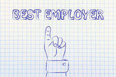 Hand pointing at the writing Best Employer — ストック写真