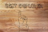 Hand pointing at the writing Best Employer — Stock Photo