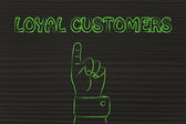 Hand pointing at the writing Loyal Customers — Stockfoto