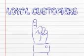 Hand pointing at the writing Loyal Customers — Stock Photo