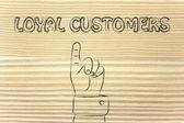 Hand pointing at the writing Loyal Customers — Stock Photo