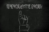 Hand pointing at the writing Innovate Now — Stock Photo