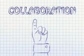 Mão apontando para a escrita de colaboração — Fotografia Stock