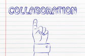 Hand pointing at the writing Collaboration — Zdjęcie stockowe