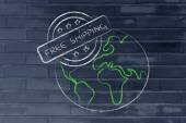 Globe with 5 stars free shipping stamp — Stock Photo