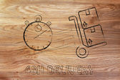 Fast 48 hours delivery illustration — Stock Photo