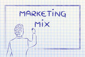 Teacher or ceo explaining about marketing mix — Stockfoto