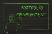 Teacher or ceo explaining about portfolio management — Stock Photo