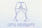 Champagne glasses illustration — Stock Photo