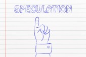 Hand pointing at the writing Speculation — Stock Photo