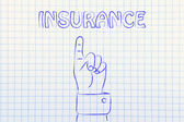 Hand pointing at the writing Insurance — Stock Photo