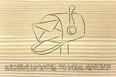 γραμματοκιβώτιο με επιστολή — Φωτογραφία Αρχείου