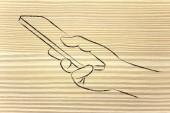 Hand holding mobile phone illustration — Stock Photo