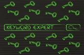 Search engine bar with tags about Keyword experts — Stock Photo