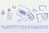 Business office objects desk illustration — Stock Photo