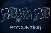Accounting: design with business documents and stats — Stock Photo