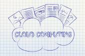 Cloud computing, funny documents on top of a cloud — Stock Photo