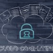 Cloud computing, funny documents on top of a cloud — Stockfoto #72528163