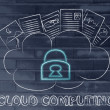 Cloud computing, funny documents on top of a cloud — Stock Photo #72528163