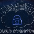 Cloud computing, funny documents on top of a cloud — Stockfoto #72528693