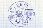 Lunch or coffee break illustration — Stock Photo