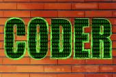 Illustration of the word Coder with a binary code pattern — Stock Photo
