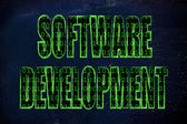 Illustration of the word Software Development with a binary code — Stock Photo