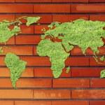 kaart van de wereld gemaakt van groen gras — Stockfoto #72931491
