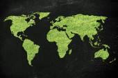 World map made of green grass — Stock Photo