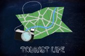 Travel industry: camera and map illustration  — Foto de Stock