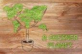 Tree with world map shaped foliage — Stock Photo