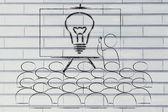 Seminar with man drawing a brilliant idea — Stock Photo