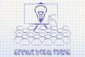 Seminar with man drawing a brilliant idea — Zdjęcie stockowe