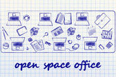 Open space office and teamwork — Stock Photo