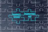 Market share & marketing mix puzzle illustration — Стоковое фото