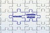 Partnership & competitive advantage puzzle illus — Stock Photo