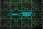 Quality & competitive advantage puzzle illustrat — Stock Photo