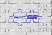 Quality & competitive advantage puzzle illustrat — Stock Photo