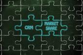 Customer relationship management & market share, glowing jigsaw — Stock Photo