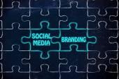 Social media & branding, glowing jigsaw puzzle illustration — Stock Photo
