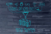 Concept of big data processing and transfers — Stock Photo